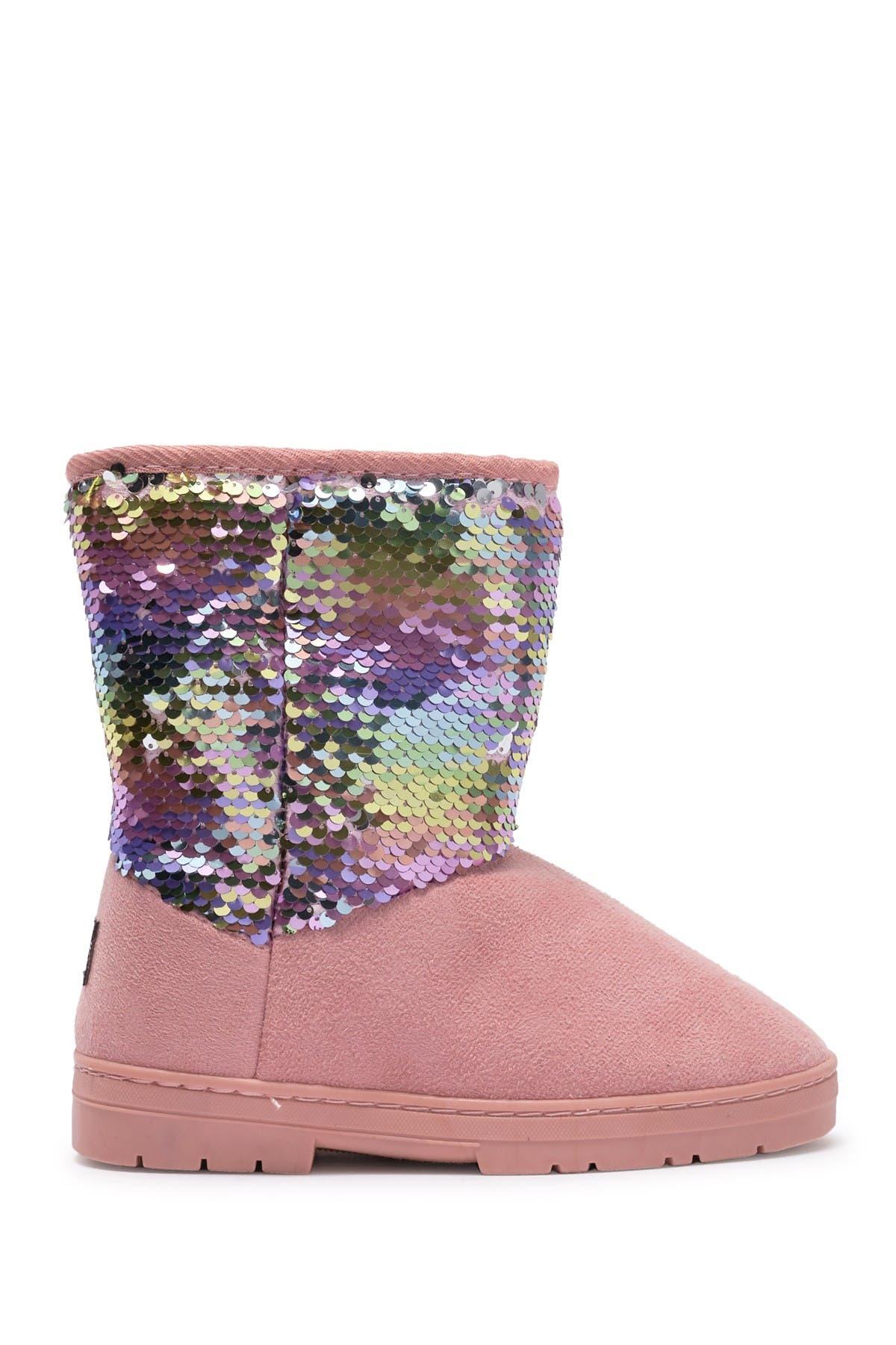 Bebe Microsuede Sequin Faux Fur Lined Winter Boot