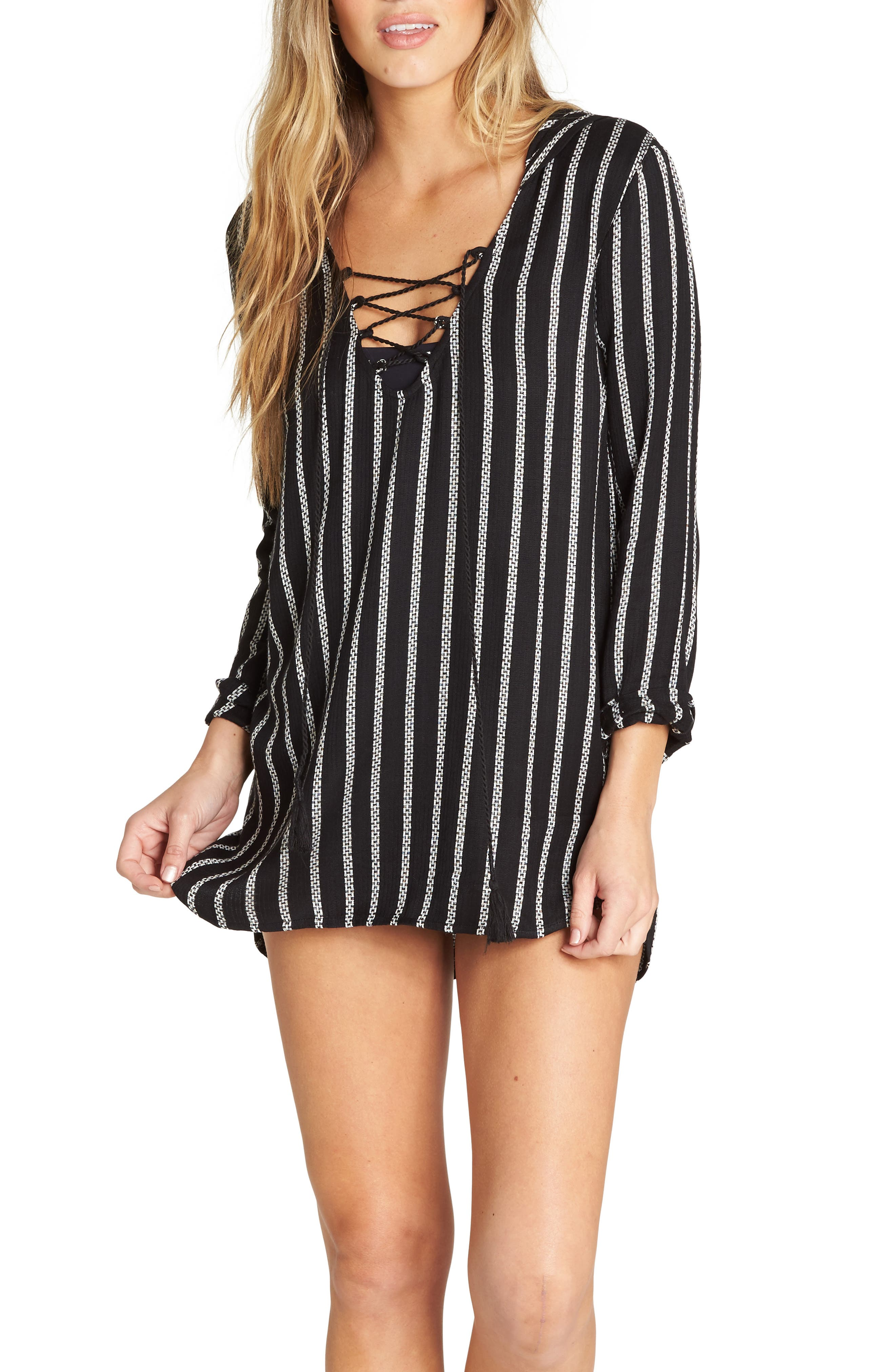 Billabong Same Story Hooded Cover-Up Tunic, Black