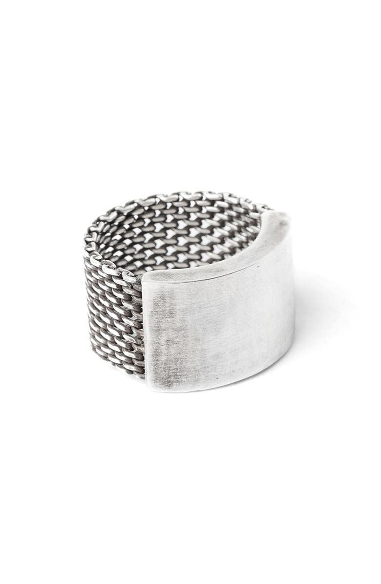 TITLE OF WORK Macro Mesh Ring, Main, color, SILVER