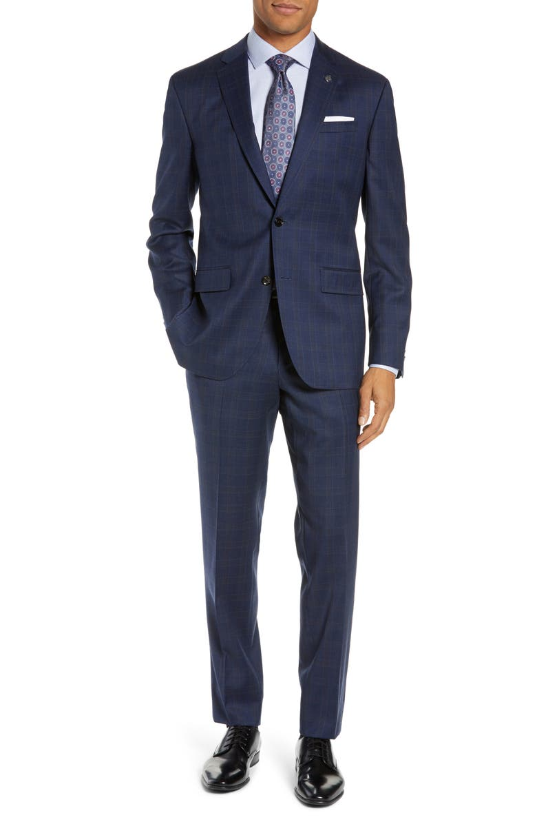 TED BAKER LONDON Jay Trim Fit Plaid Wool Suit, Main, color, 400