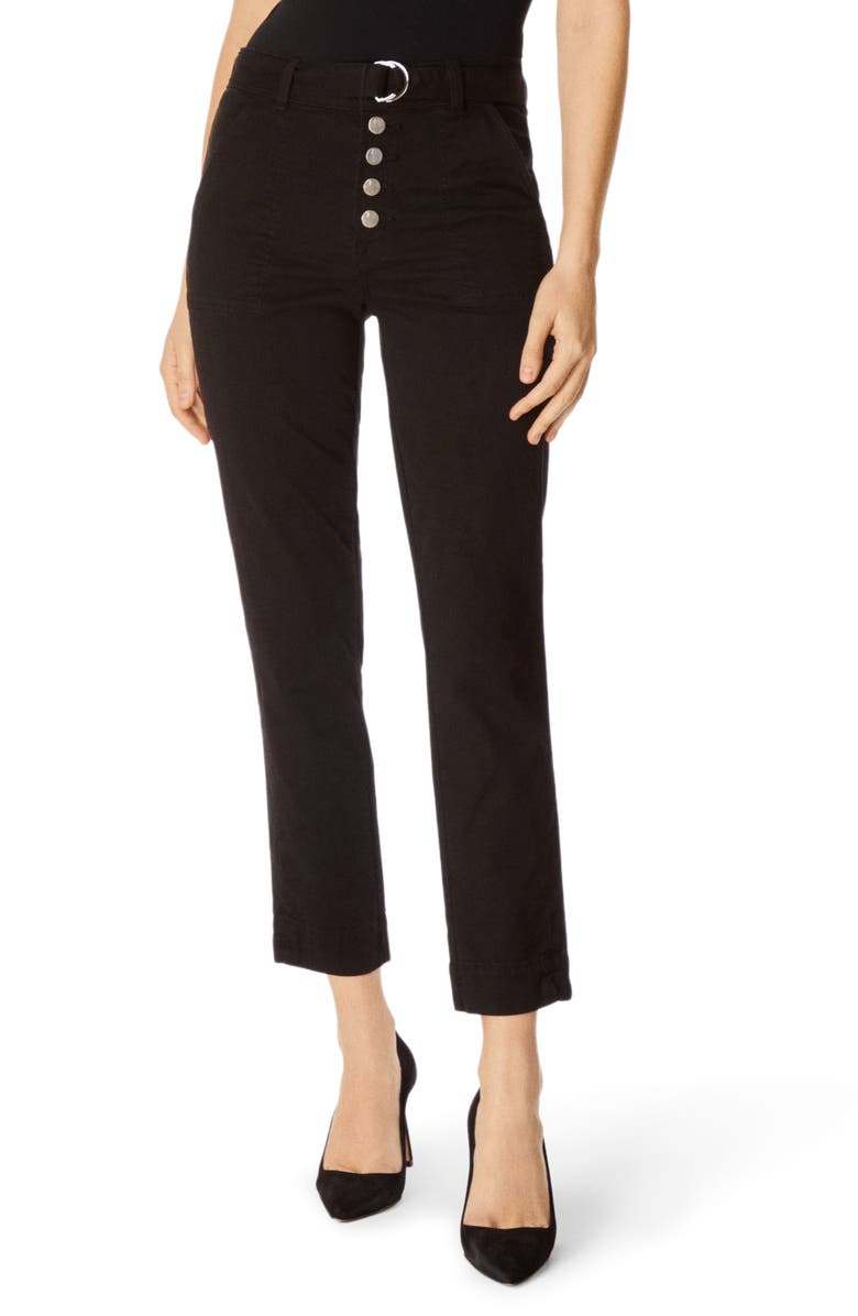 J BRAND Kyrah High Waist Crop Cigarette Pants, Main, color, BLACK