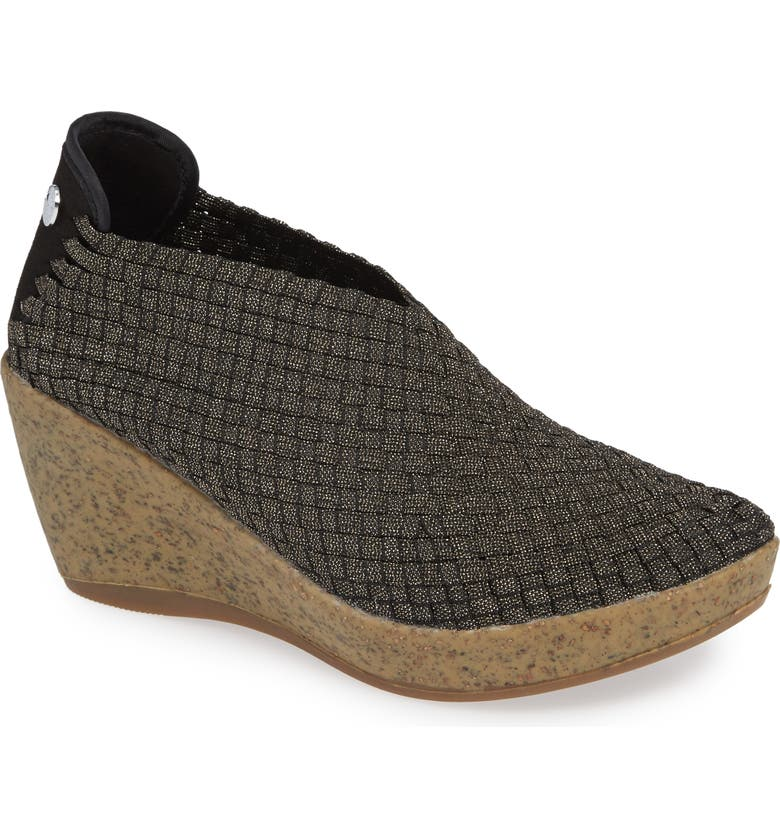 BERNIE MEV. Woven Wedge, Main, color, GOLD BLACK SHIMMER FABRIC