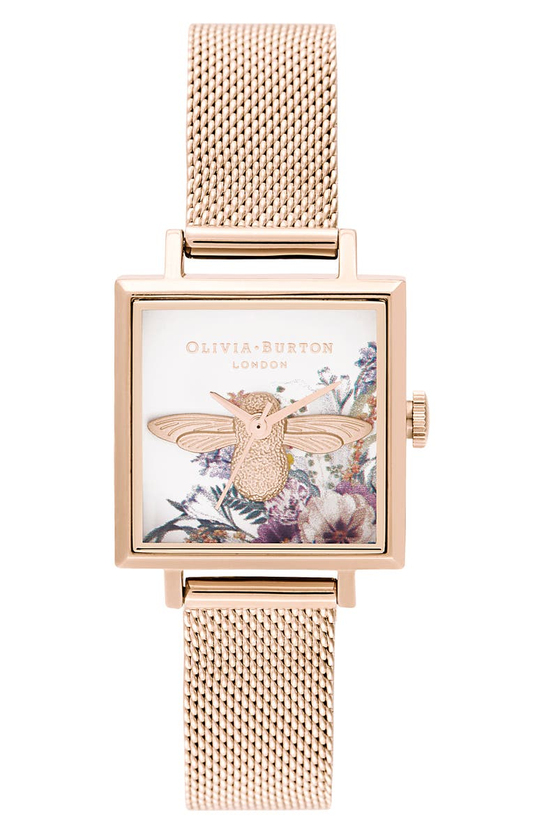 OLIVIA BURTON Enchanted Garden Leather Strap Watch, 22.5mm, Main, color, ROSE GOLD/ WHITE FLORAL