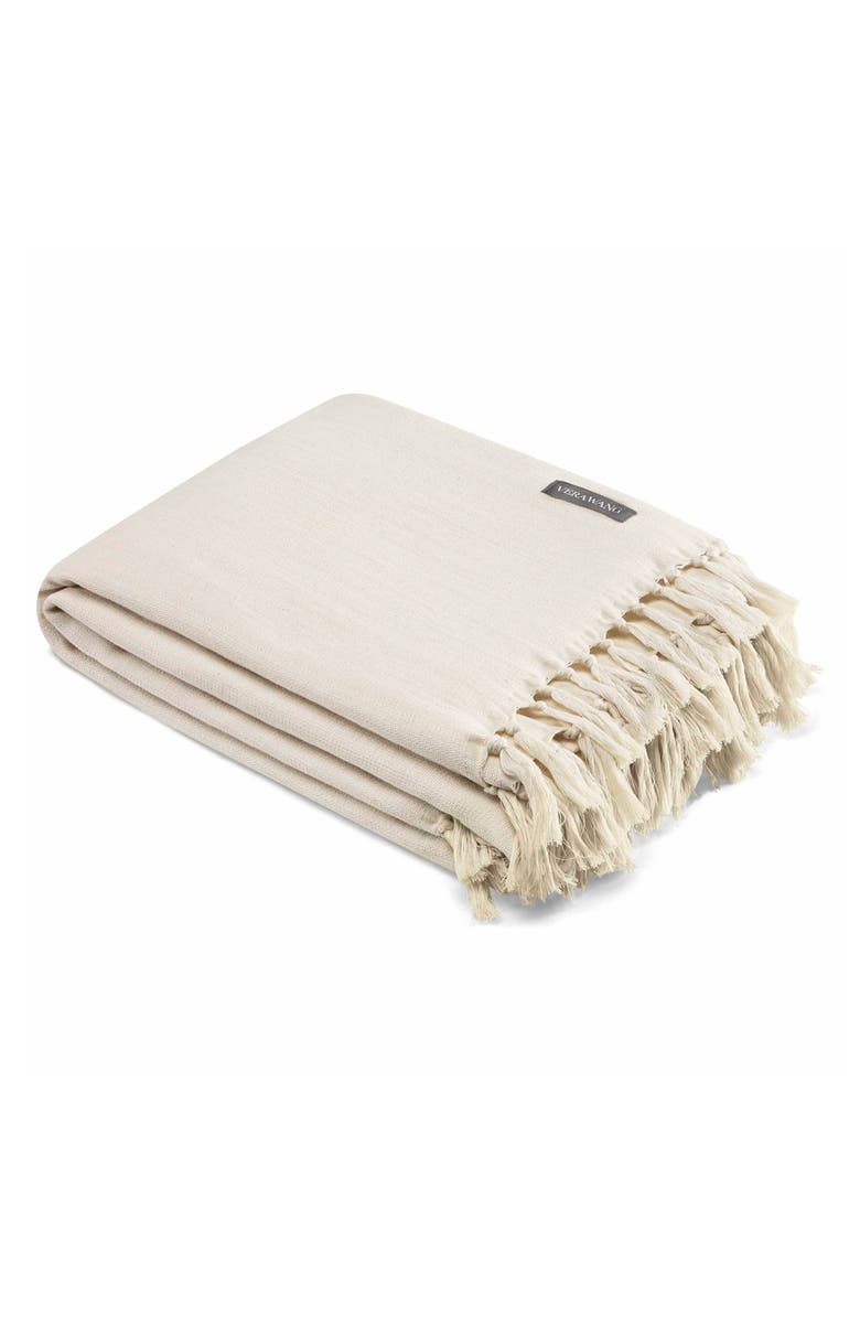 VERA WANG Fringe Cotton Twill Throw, Main, color, NATURAL