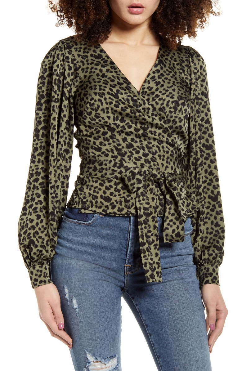 GOOD AMERICAN Long Sleeve Wrap Top, Main, color, SAGE LEOPARD001