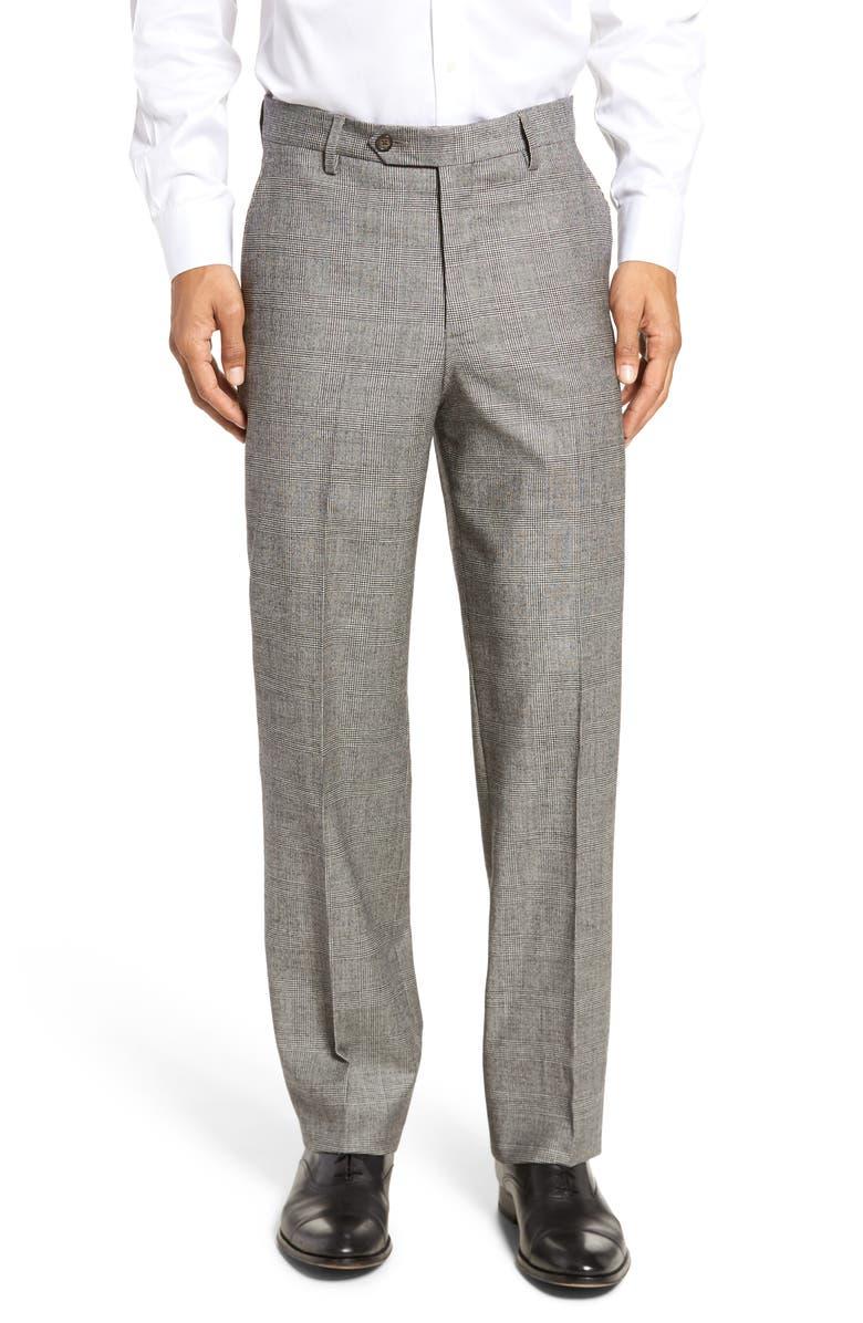 BERLE Flat Front Classic Fit Stretch Plaid Wool Dress Pants, Main, color, BLACK/ WHITE