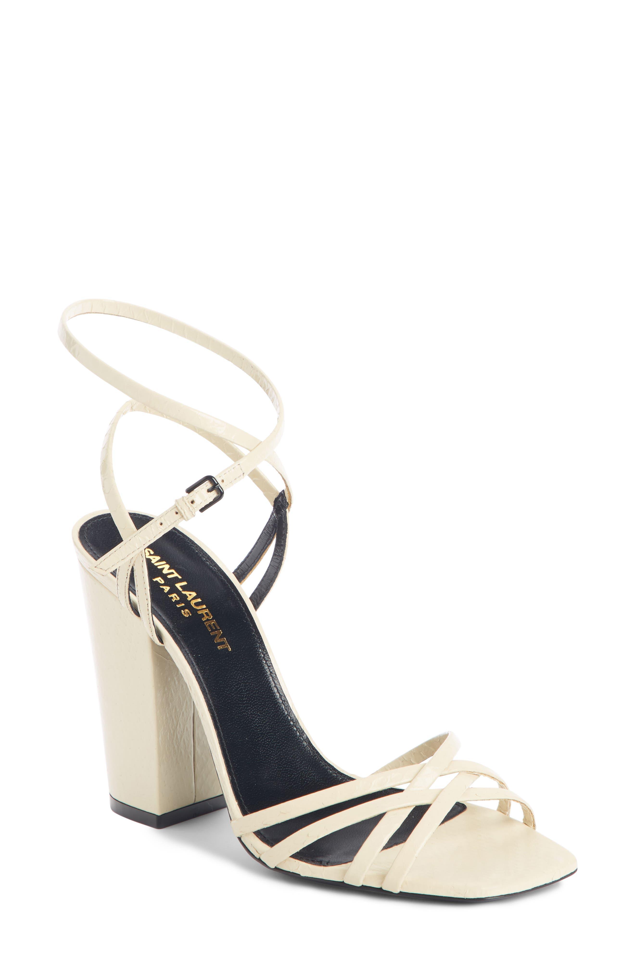Saint Laurent Oak Crisscross Sandal, Ivory