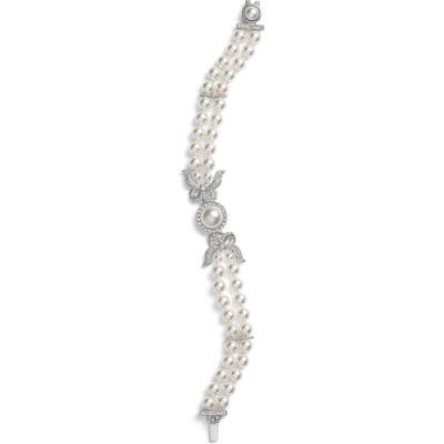 Nadri Two Row Imitation Pearl & Crystal Bracelet