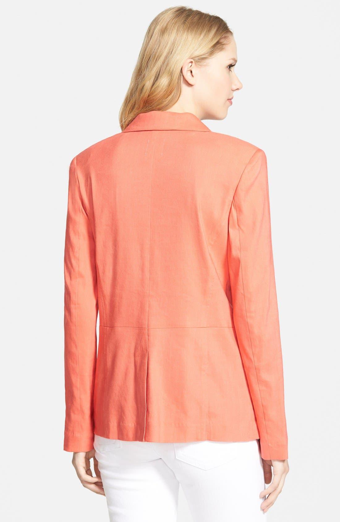 ,                             Seamed Back Linen Blend Blazer,                             Alternate thumbnail 14, color,                             958