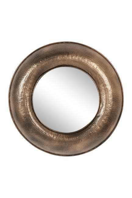 """Image of Willow Row Round Metal Bronze Finished Wall Mirror 32""""D"""