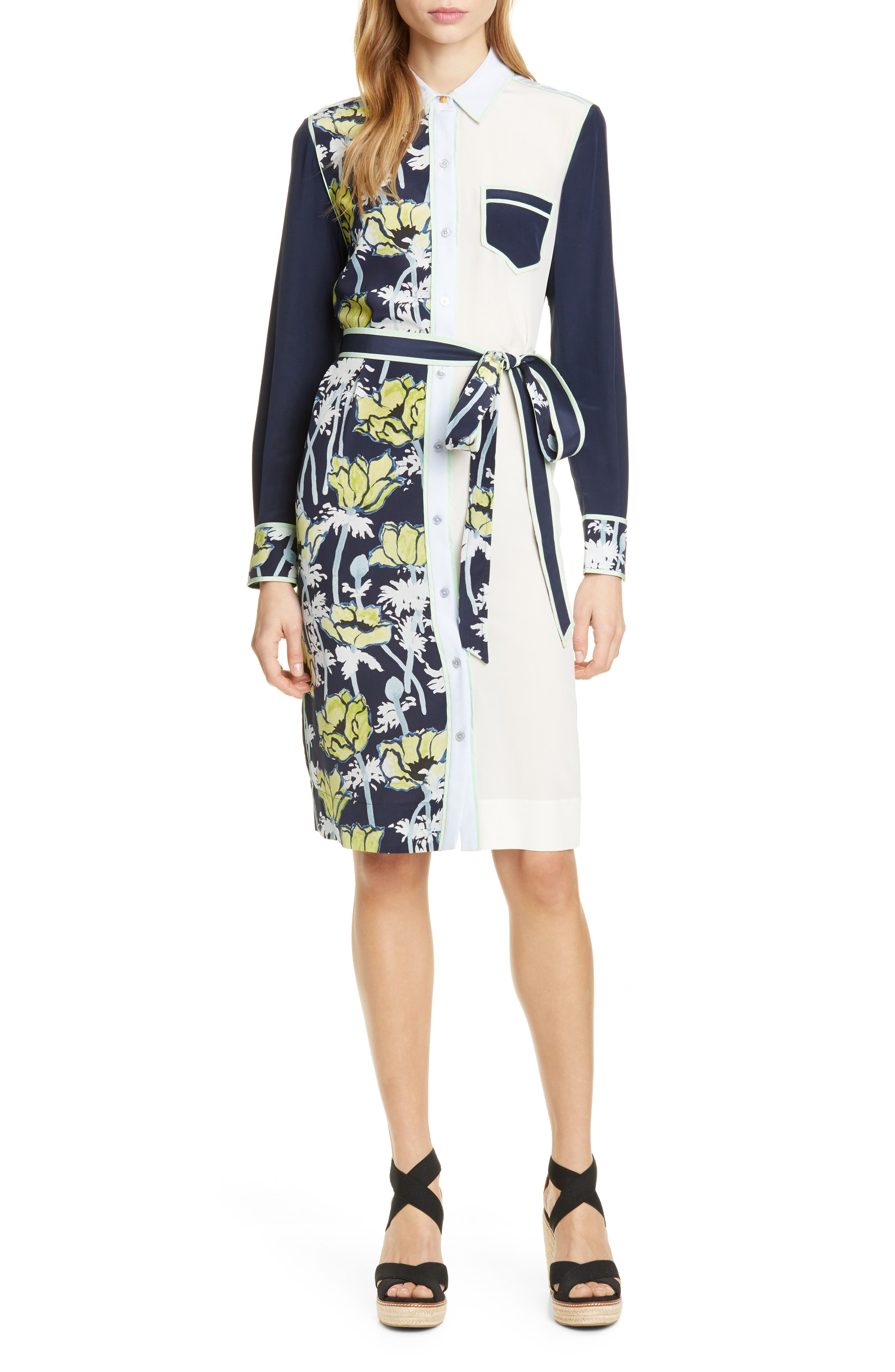 Silk Patchwork Long Sleeve Dress, Main, color, NAVY POPPIES BLOOM