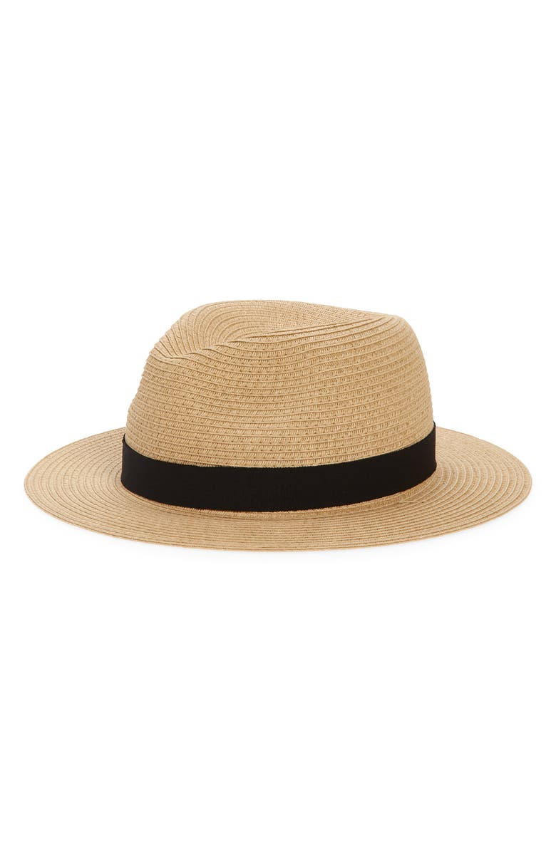 MADEWELL Packable Straw Fedora Hat, Main, color, NATURAL STRAW