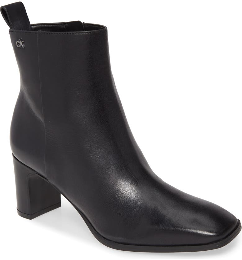 CALVIN KLEIN Deni Bootie, Main, color, BLACK LEATHER