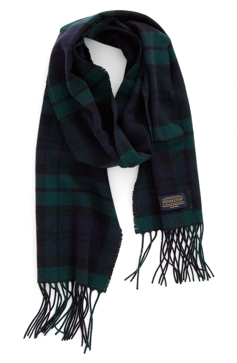 PENDLETON Plaid Wool Scarf, Main, color, BLACKWATCH