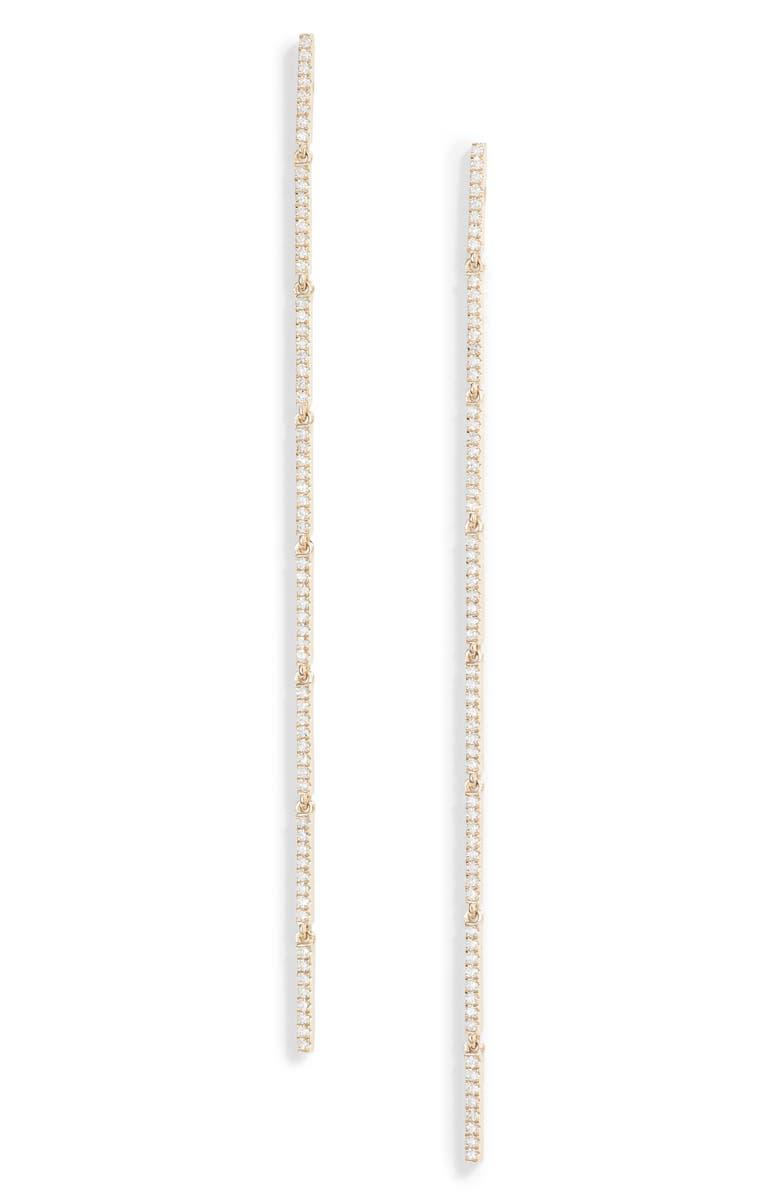 EF COLLECTION Diamond Linear Earrings, Main, color, YELLOW GOLD/ DIAMOND