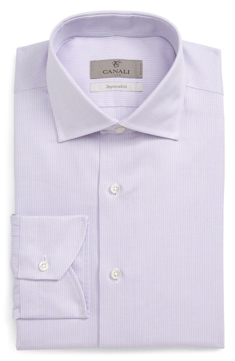 CANALI Slim Fit Solid Dress Shirt, Main, color, PINK