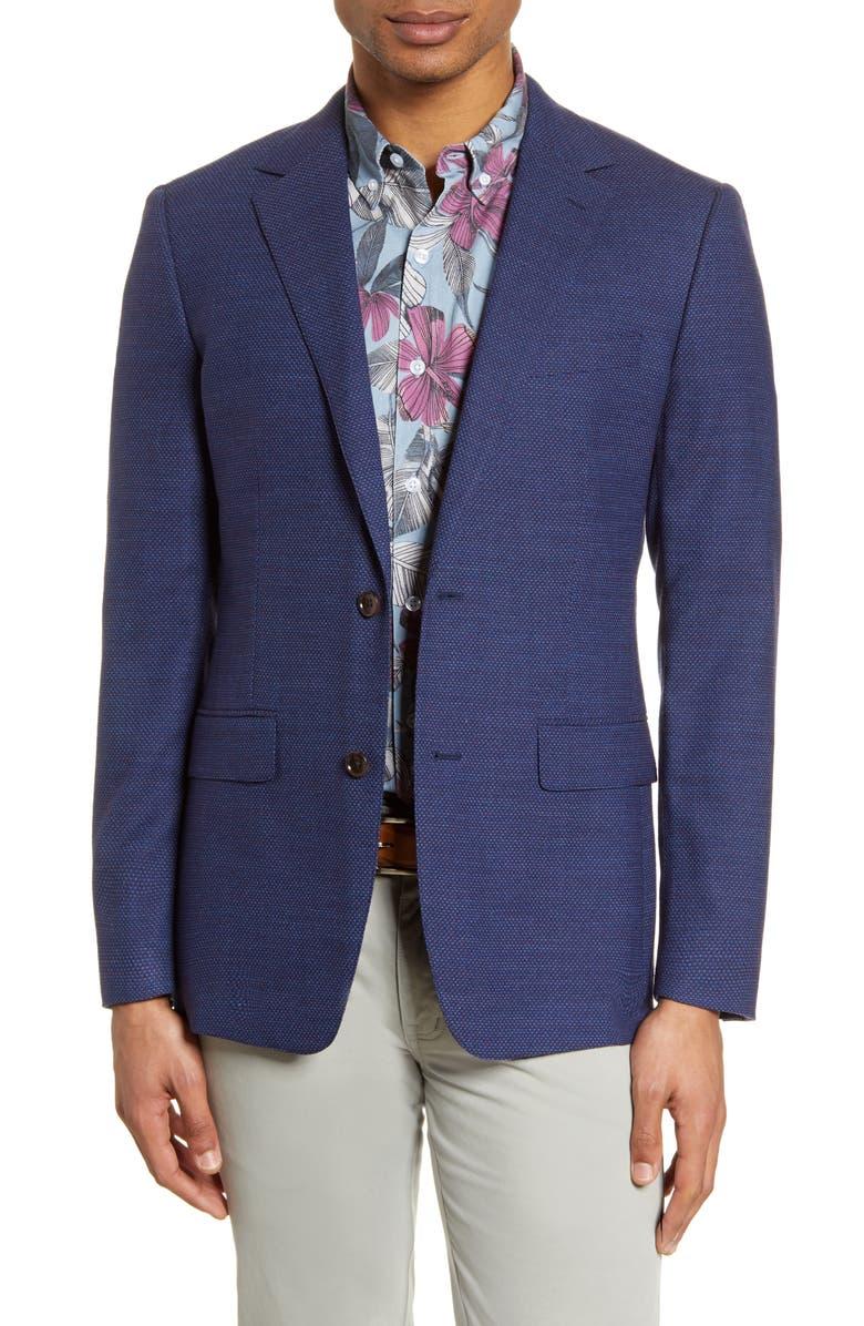 BONOBOS Jetsetter Slim Fit Stretch Wool Sport Coat, Main, color, NAVY MICRO TEXTURE