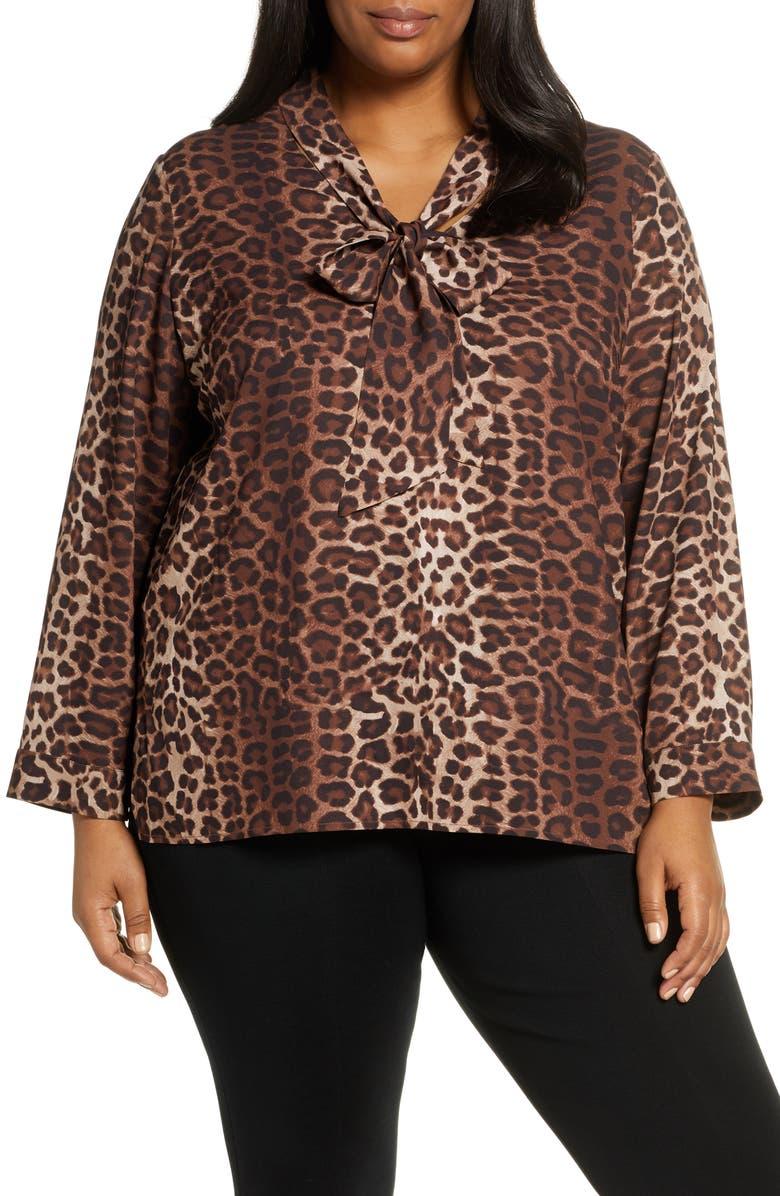 MING WANG Leopard Print Tie Neck Shirt, Main, color, 200