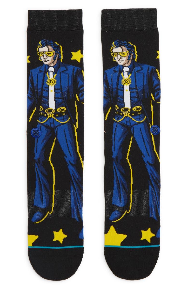 STANCE Elvis Star Socks, Main, color, BLACK