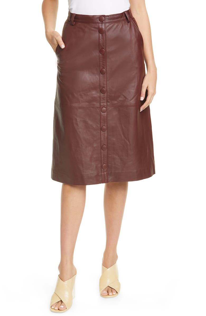 REMAIN BIRGER CHRISTENSEN Bellis Leather Skirt, Main, color, PORT ROYAL