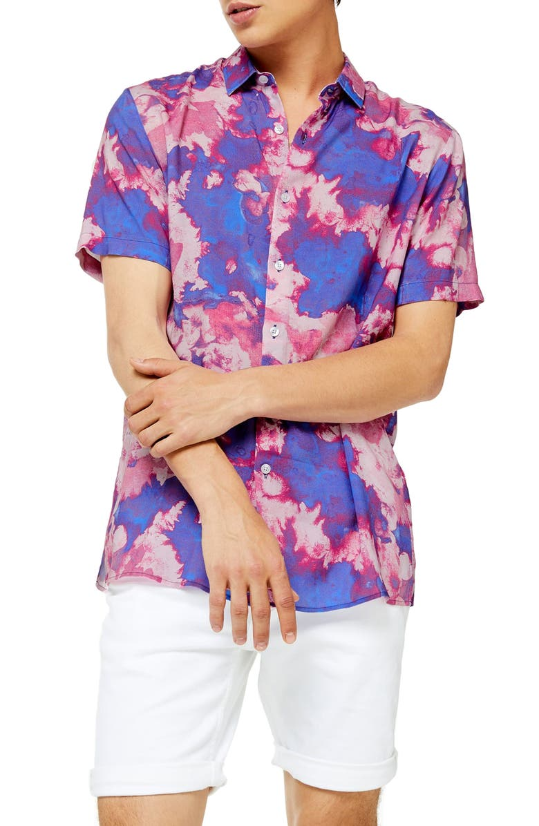 TOPMAN Slim Fit Tie Dye Short Sleeve Button-Up Shirt, Main, color, PINK MULTI