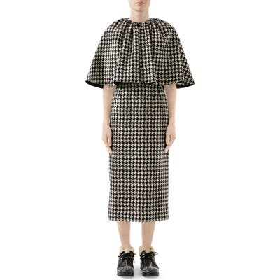 Gucci Houndstooth Midi Dress With Removable Cape, US / 40 IT - Black