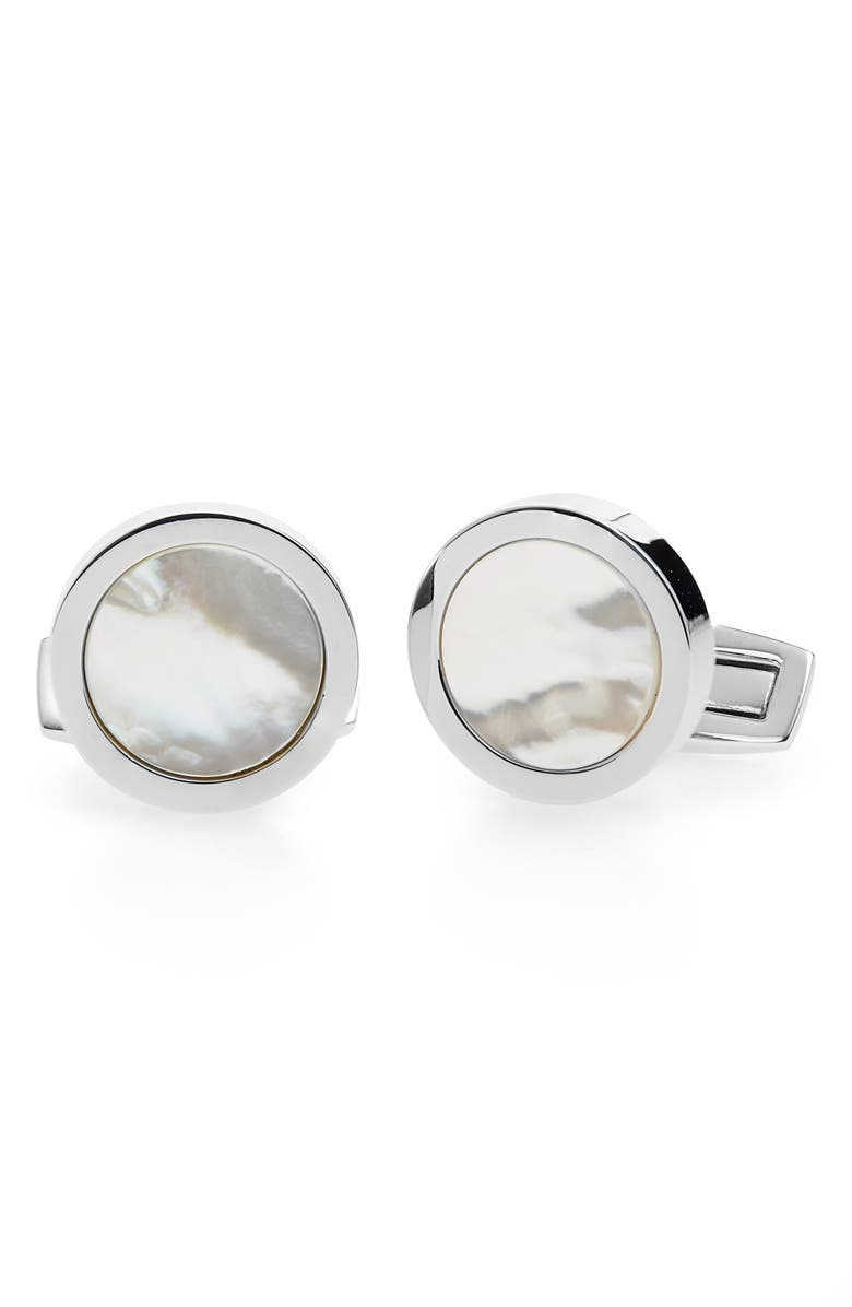 BOSS Mother-of-Pearl Cuff Links, Main, color, WHITE
