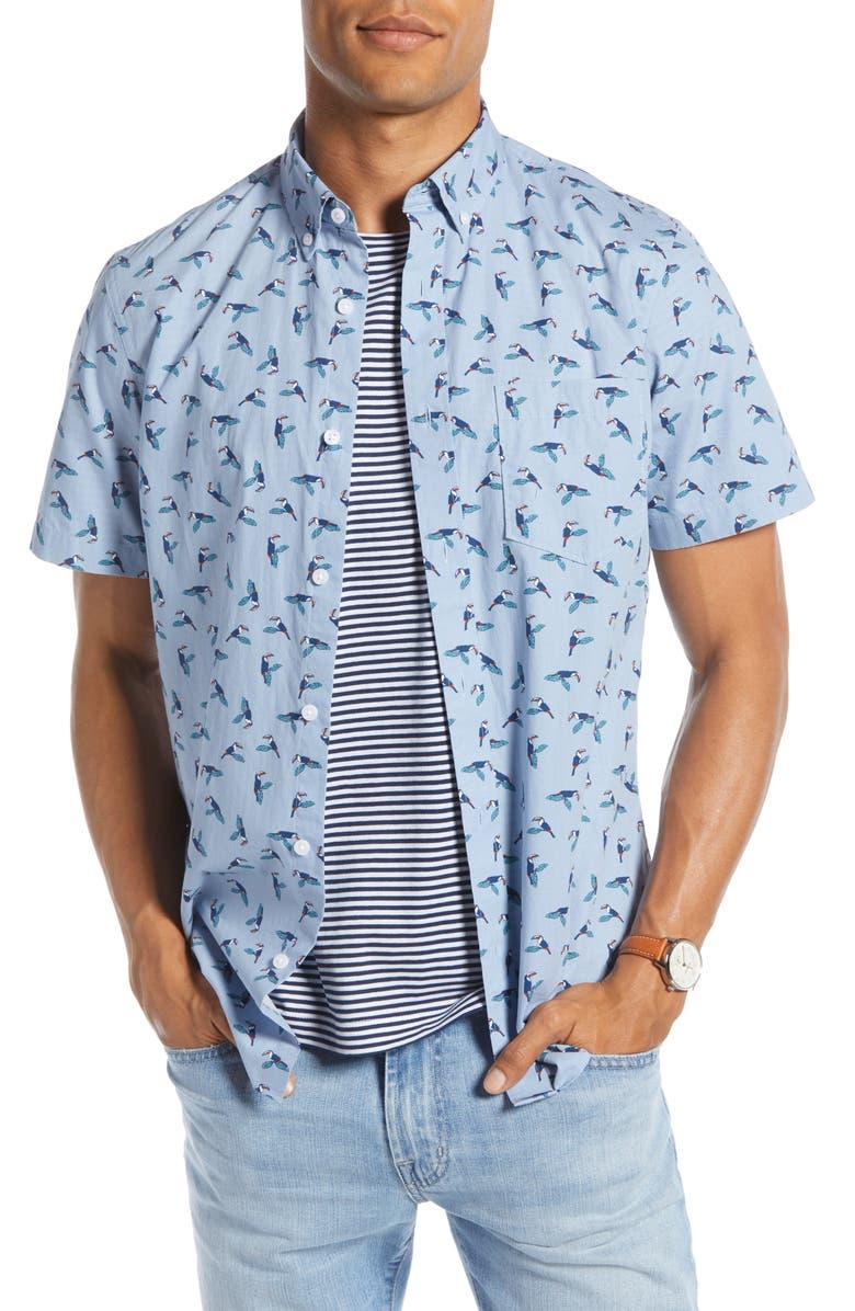 1901 Toucan Print Shirt, Main, color, BLUE DRIZZLE TOUCAN PRINT