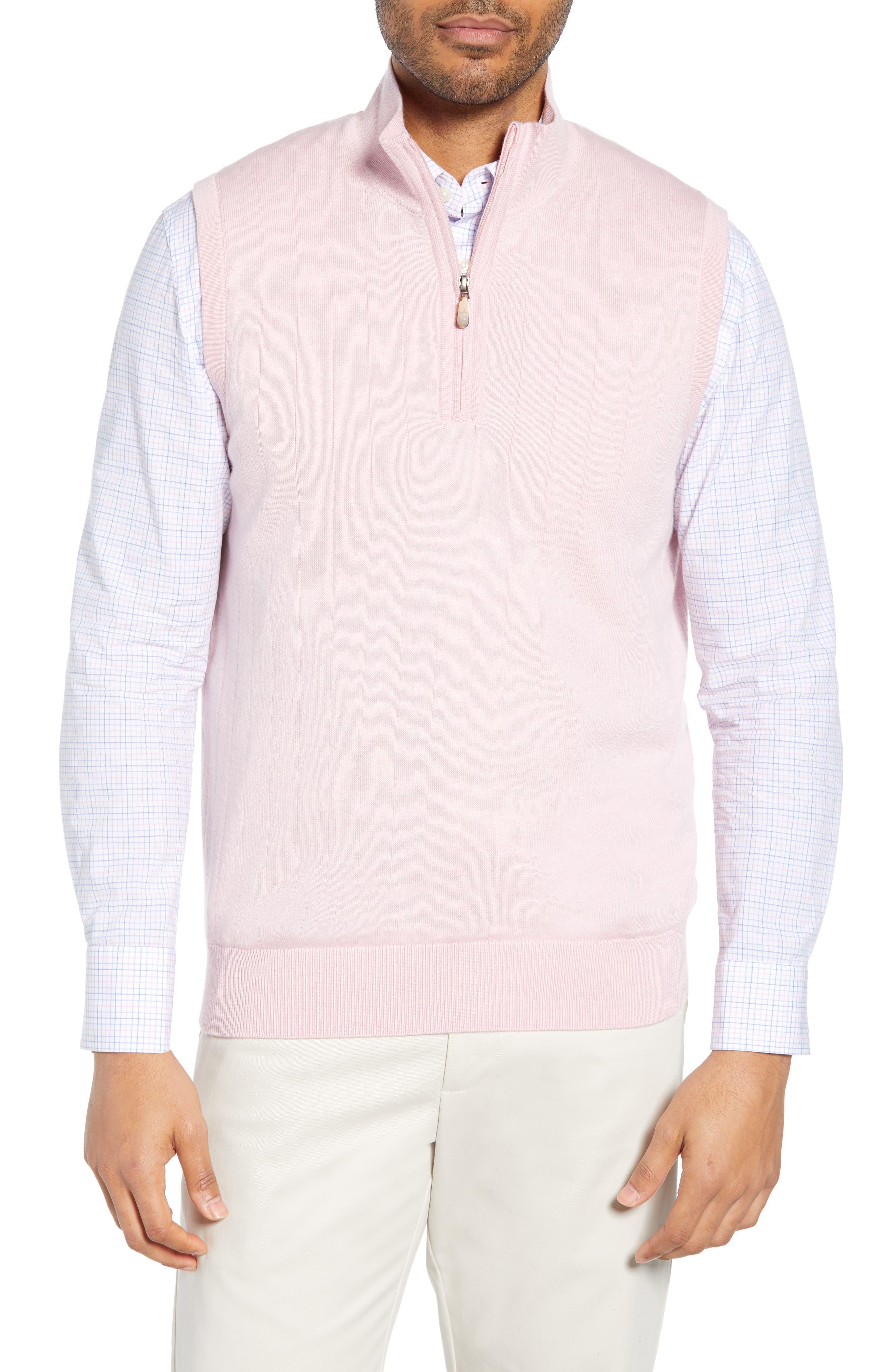 Bobby Jones Quarter Zip Wool Sweater Vest, Pink