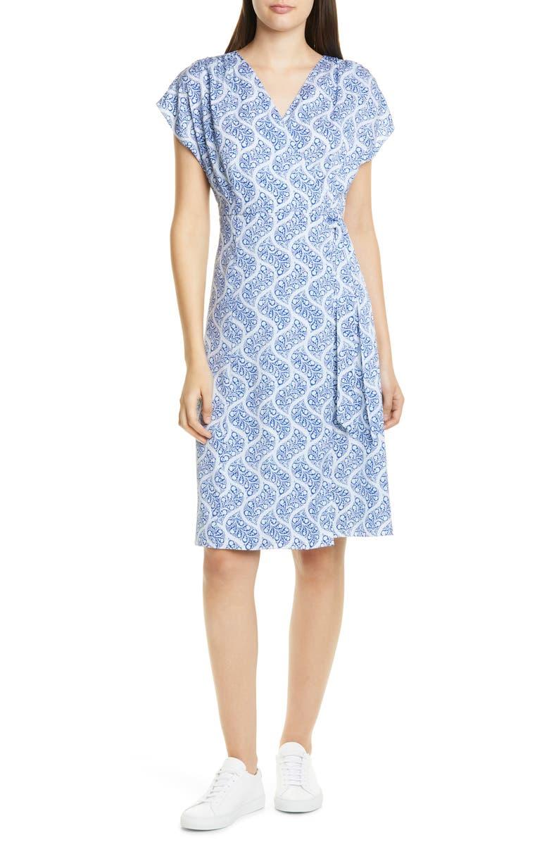 NORDSTROM SIGNATURE Print Stretch Silk Wrap Dress, Main, color, 420