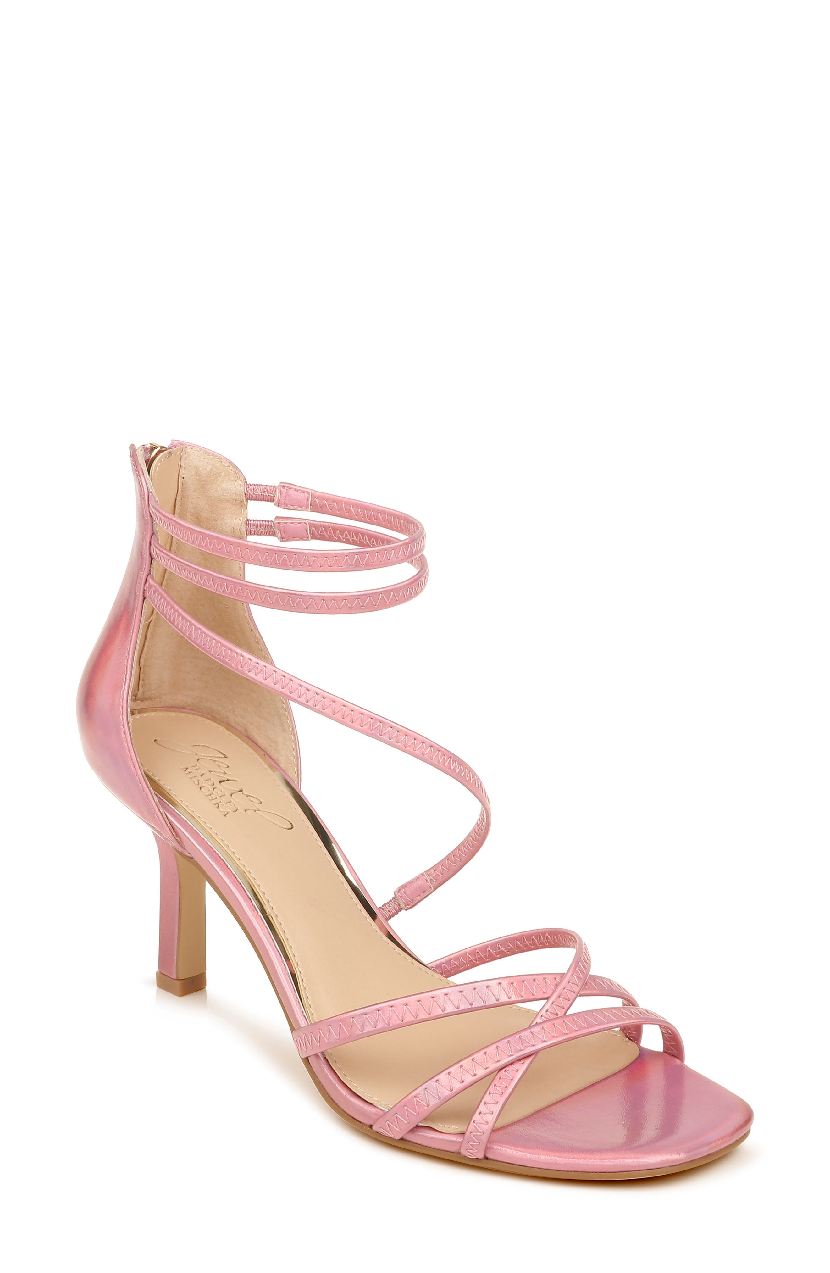 Slender straps wrap around the ankle and across the vamp of an elegant sandal lifted by a classically tapered heel. Style Name: Jewel Badgley Mischka Flor Strappy Sandal (Women). Style Number: 6035021. Available in stores.