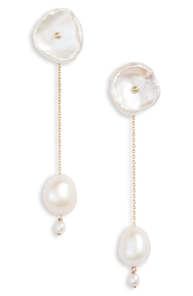POPPY FINCH Double Pearl Drop Earrings, Main, color, PEARL/ YELLOW GOLD