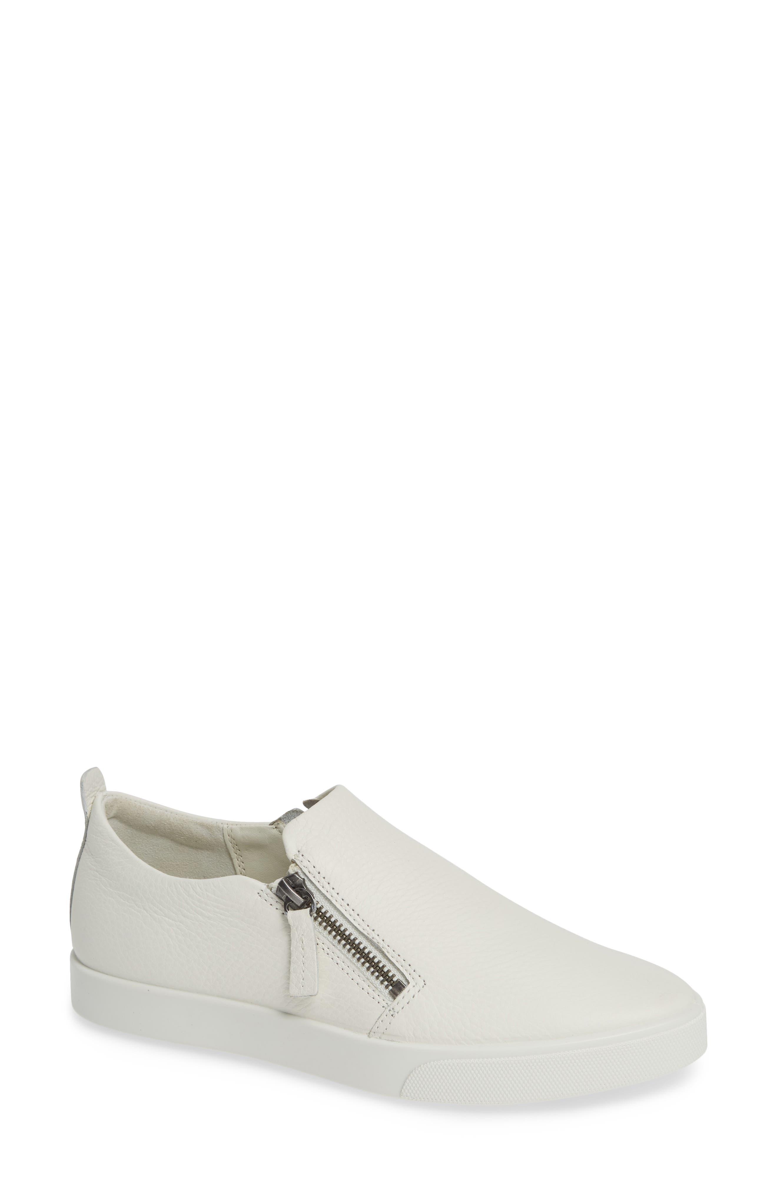 Ecco Gillian Side Zip Sneaker, White