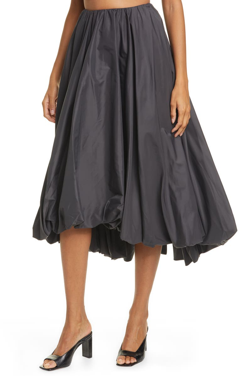 STAUD Mariposa Bubble Hem Midi Skirt, Main, color, 001