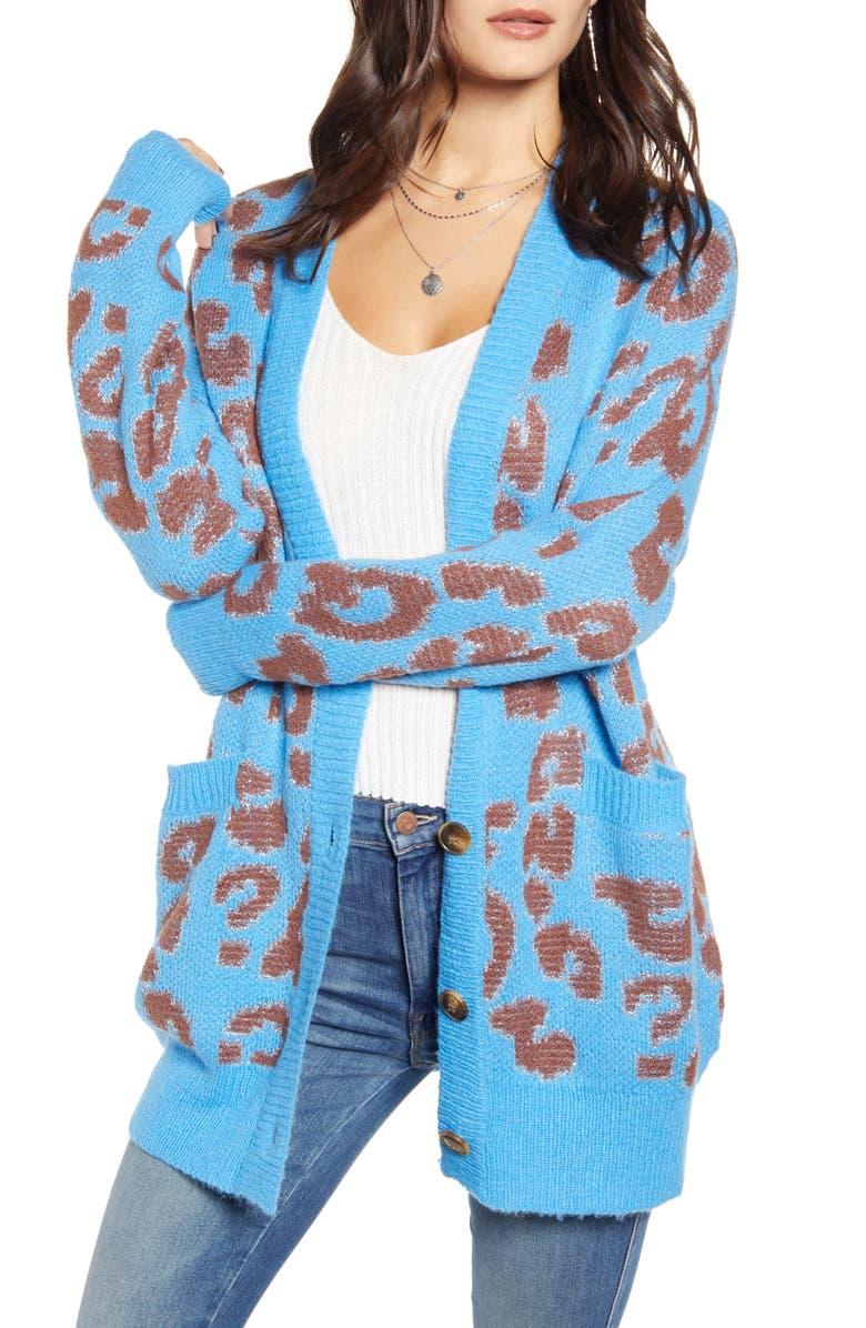 J O A Leopard Pattern Cardigan