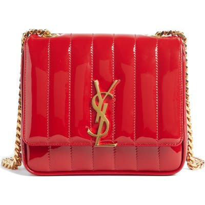 Saint Laurent Small Vicky Patent Leather Crossbody Bag - Red