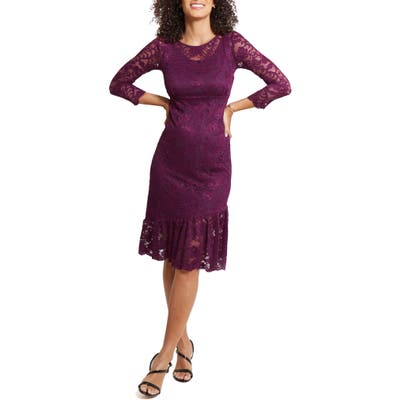 Ingrid & Isabel Flounce Hem Lace Maternity Dress, Purple