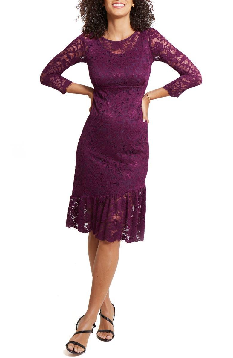 INGRID & ISABEL<SUP>®</SUP> Flounce Hem Lace Maternity Dress, Main, color, PLUM
