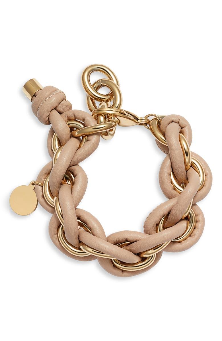 KNOTTY Leather Wrap Chain Bracelet, Main, color, 715