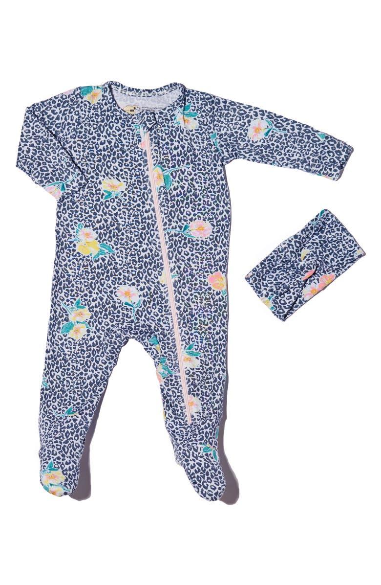BABY GREY Footie & Head Wrap Set, Main, color, JUNGLE FLORAL