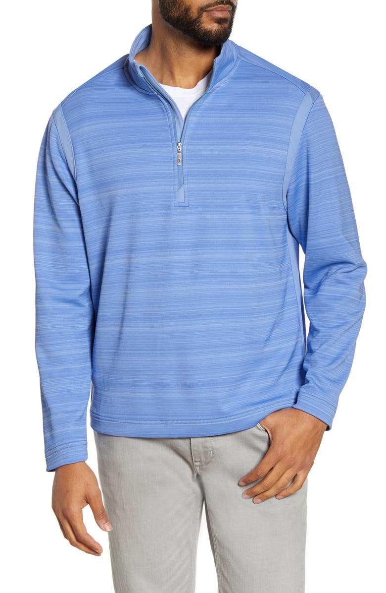 TOMMY BAHAMA Tidal Stripe Half Zip Pullover, Main, color, NEW BLUE OPAL
