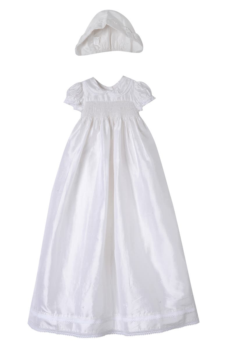 LAURA ASHLEY Smocked Shantung Gown & Bonnet, Main, color, IVORY