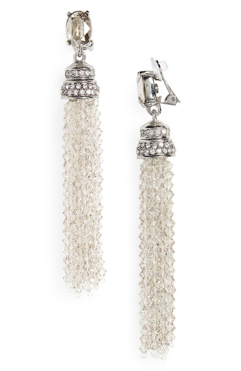 OSCAR DE LA RENTA Crystal Tassel Drop Clip Earrings, Main, color, CRYSTAL/ SILVER