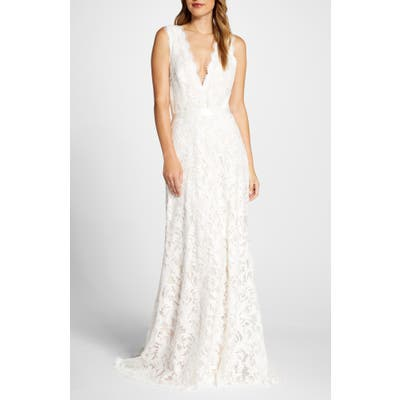 Tadashi Shoji Deep V-Neck Lace Trumpet Wedding Dress, Ivory