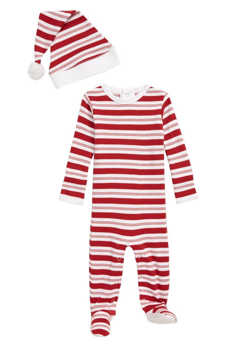 L'OVEDBABY Stripe Organic Cotton Footie & Hat Set, Main, color, PEPPERMINT STRIPE