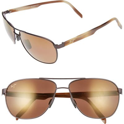 Maui Jim Castles Polarizedplus2 61mm Aviator Sunglasses - Matte Chocolate