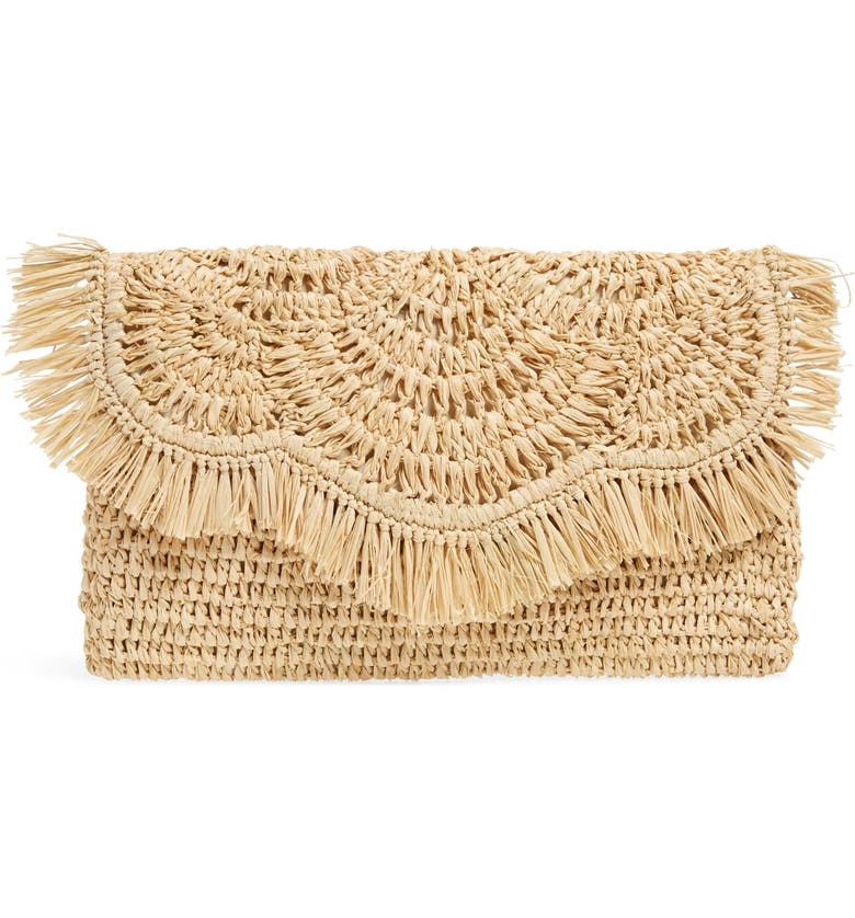 NORDSTROM Woven Raffia Clutch, Main, color, NATURAL