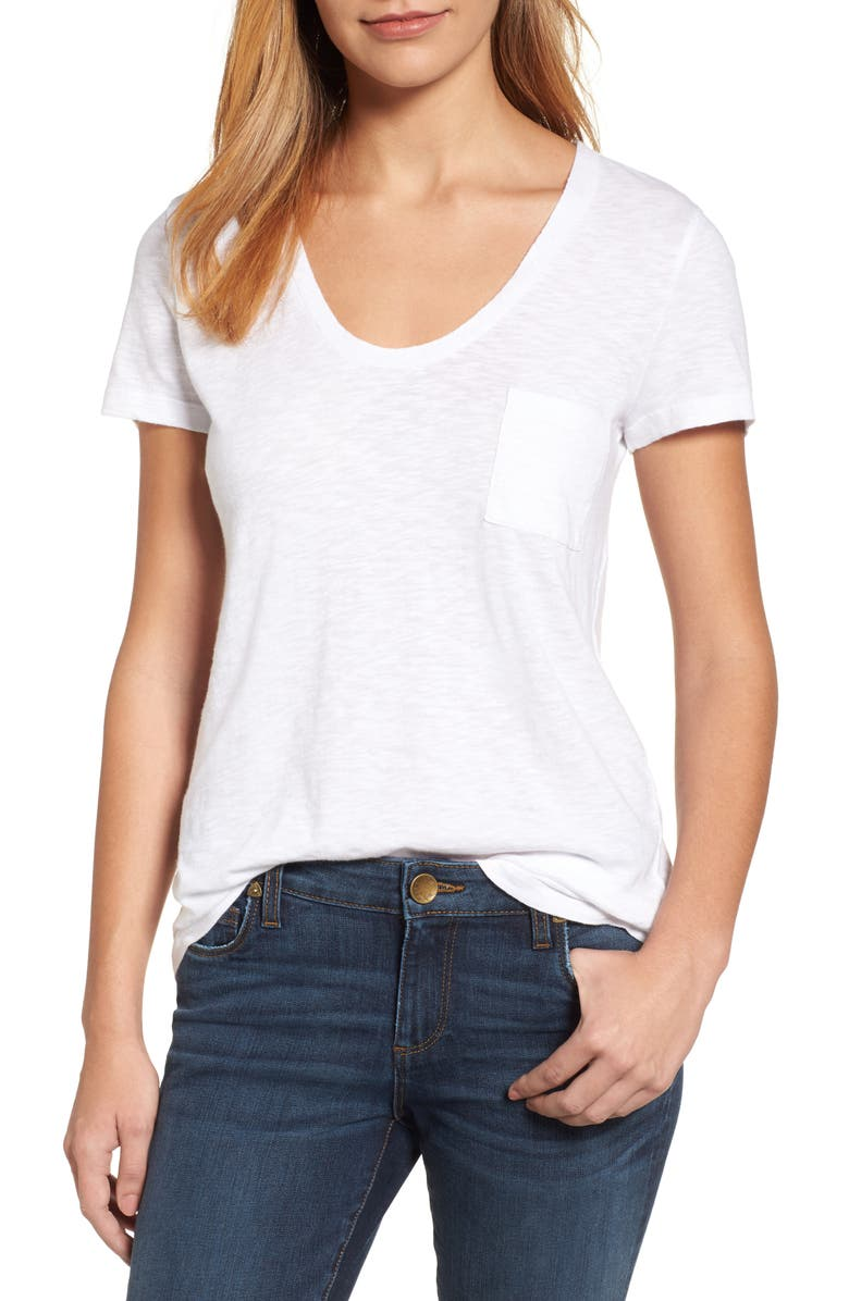 CASLON<SUP>®</SUP> Rounded V-Neck Tee, Main, color, WHITE