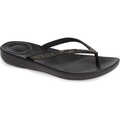 Fitflop Iqushion(TM) Splash Crystal Flip Flop, Black