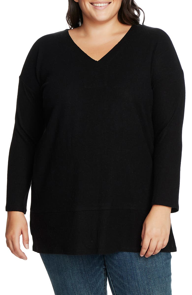 VINCE CAMUTO Ribbed Sleeve V-Neck Tunic Sweater, Main, color, RICH BLACK